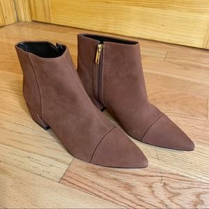 AVA & AIDEN Brown Suede Pointed Toe Booties